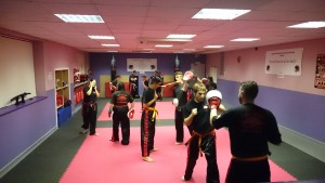 Kickboxing class in full swing.